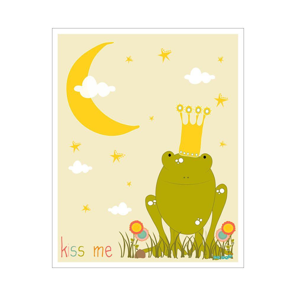 Children\'s Wall Art / Nursery Decor Kiss Me Frog Prince 11x14 inch ...