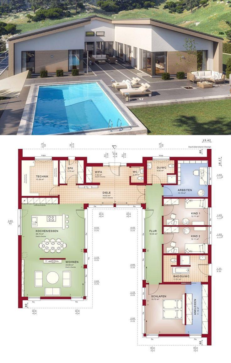 Moderner Fertighaus Bungalow mit Satteldach Architektur & 5 Zimmer Grundriss off... - pinturest #architecture