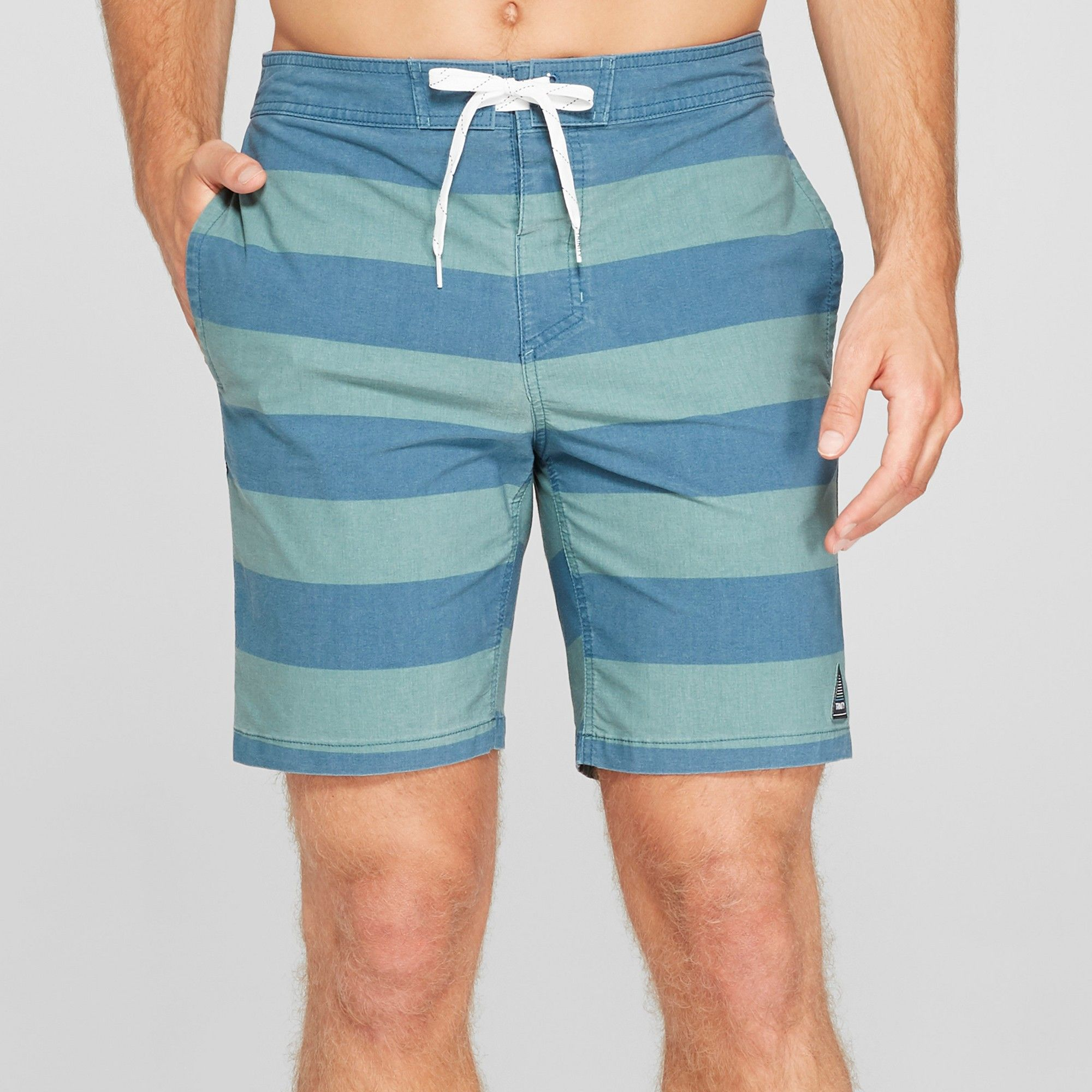 020ab21c6a510 Trinity Collective Men's Striped 8.5 Rugby Board Shorts - Deep Teal 32, Blue