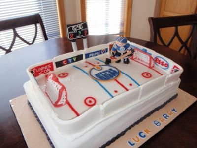 Hockey Cake this was a sheet cake everything was made from Fondant