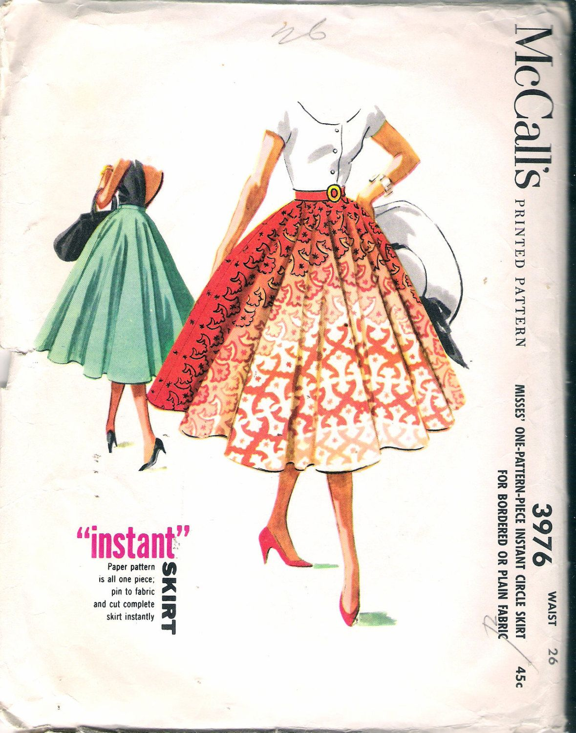 Vintage 1956 mccalls 3976 circle skirt sewing pattern size waist vintage 1956 mccalls 3976 circle skirt sewing pattern size waist 26 uncut by recycledelic1 on jeuxipadfo Gallery