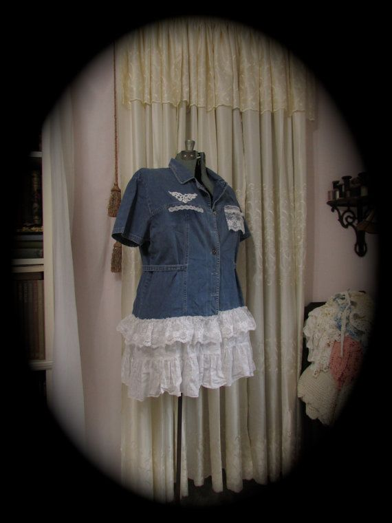 Upcycled Denim Blouse, shabby tattered chic, ranch country prairie cottage clothing, XL Large
