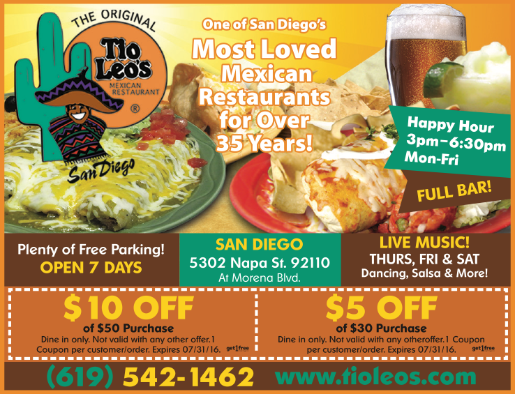 Tio Leo S Mexican Restaurant Coupon Local Deals Restaurants Coupons 92110
