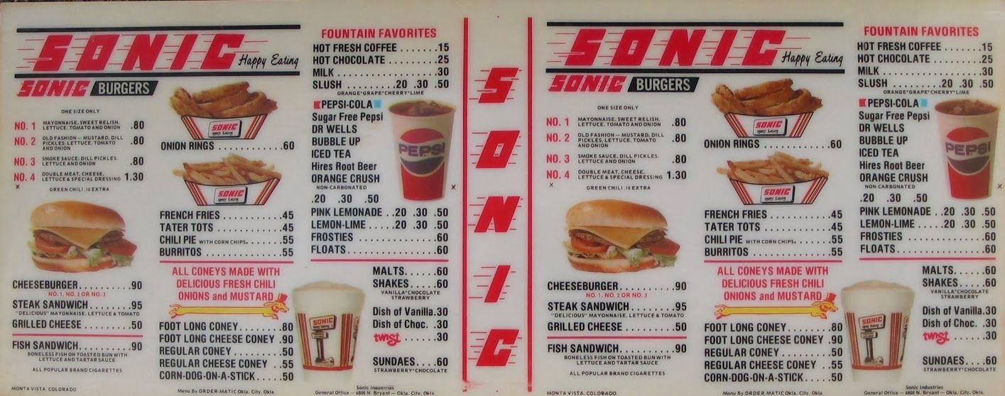 1970s-Sonic-Menu-circa-late-1970 | ®£st@u®aΠt$ | Sonic drive in