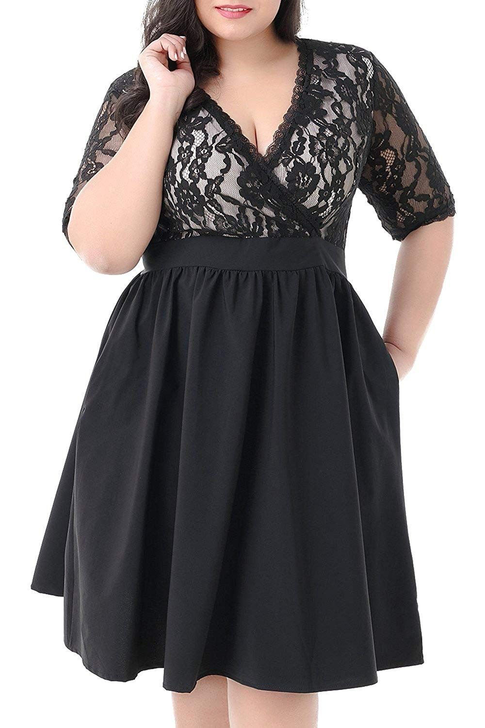 12058befc95 Nemidor Women s Half Sleeves V-Neckline Lace Top Plus Size Cocktail Party  Swing Dress 4.4 out of 5 stars 107 customer reviews Price   33.99 -  36.99