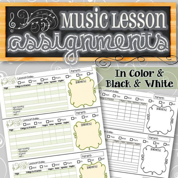 EDITABLE Music Lesson Assignment Sheets - INSTANT DOWNLOAD ...