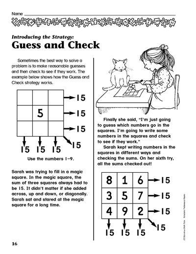 Guess Check Math Problem Solving Math Challenge Problem Solving Front end estimation worksheets