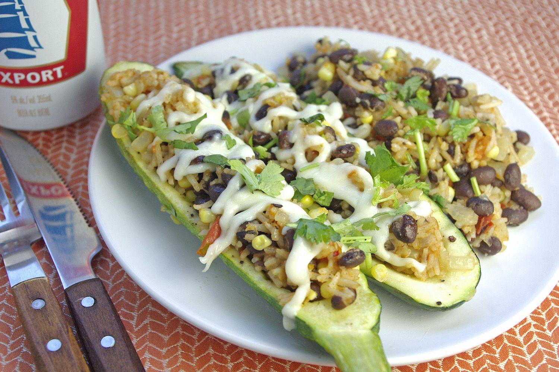 Rice & Beans-Stuffed Zucchini