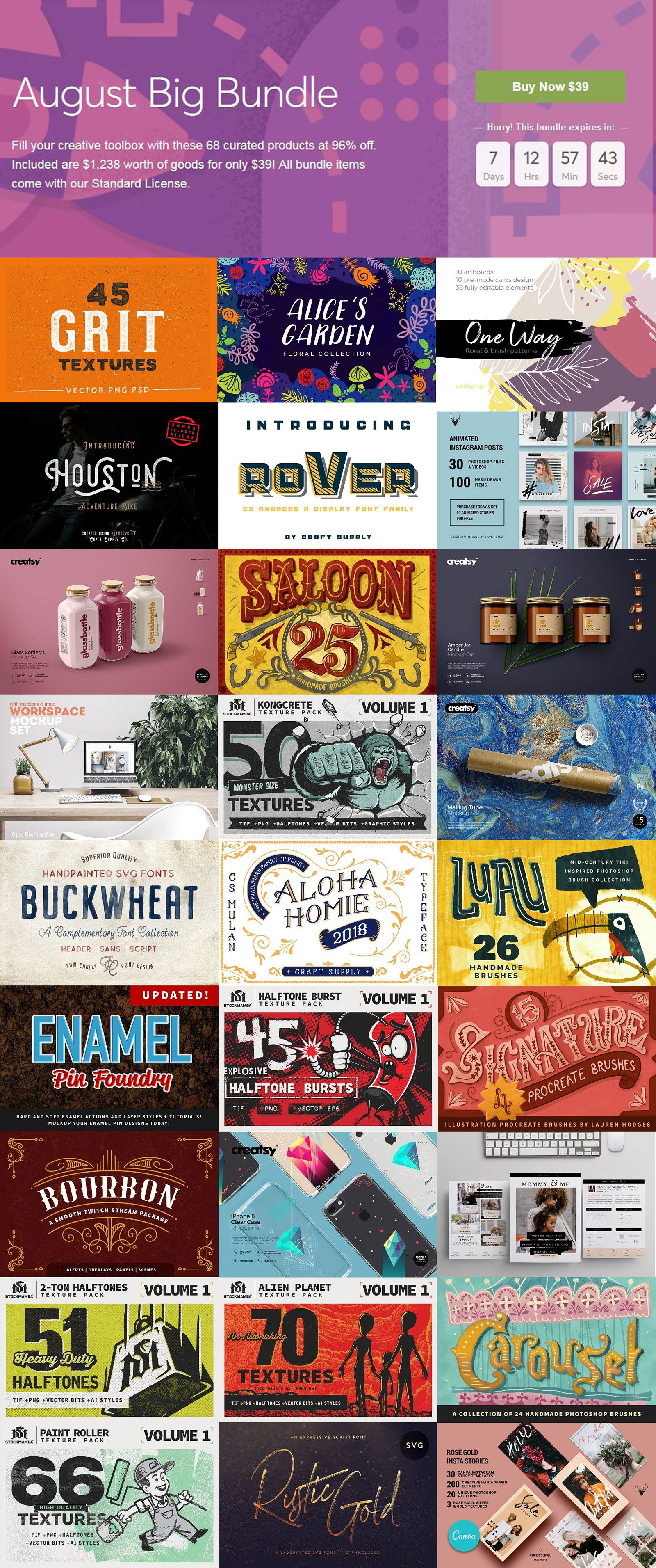 Freebie + Get 68 Top Design Products worth 1238+ for