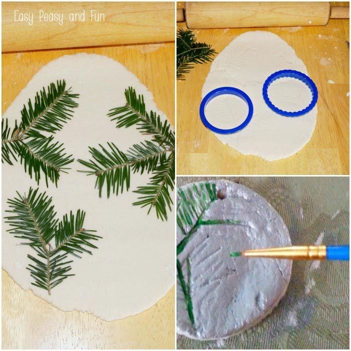 Pine Stamped Salt Dough Ornaments - Christmas Ornaments #saltdoughornaments