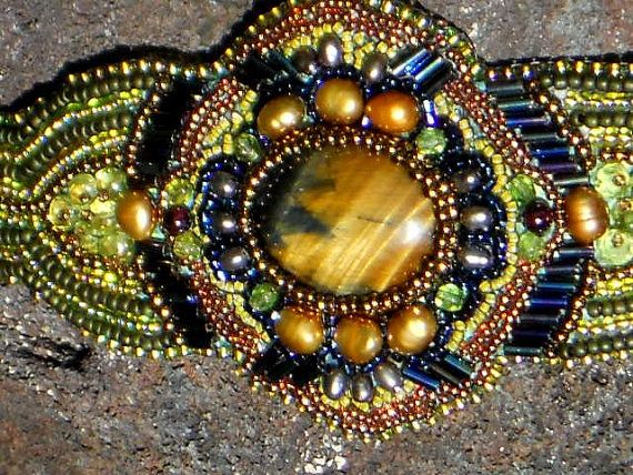 Bead embroidered Bracelet, with Tigers Eye and Pearls,by INGEBORG797 on Etsy.com