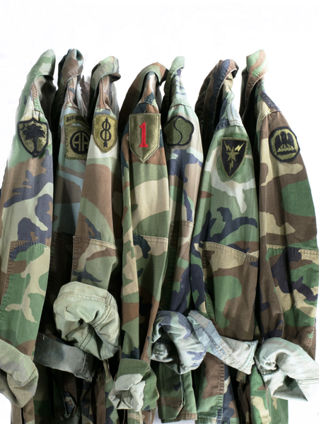 056573a78 Vintage Army Jacket Military Issued Button Down Camo Shirt Jacket IN ...