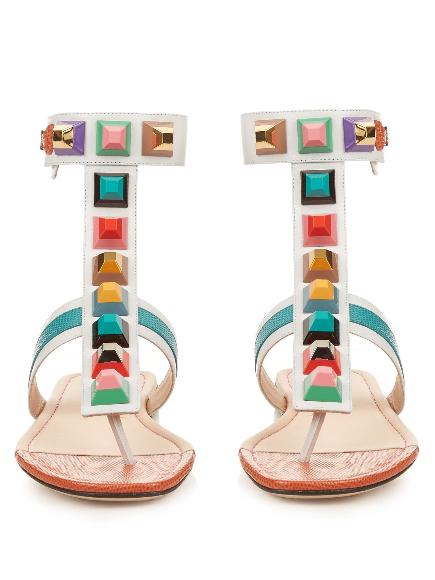 c2c99e53b05b26 Rainbow stud-embellished leather sandals