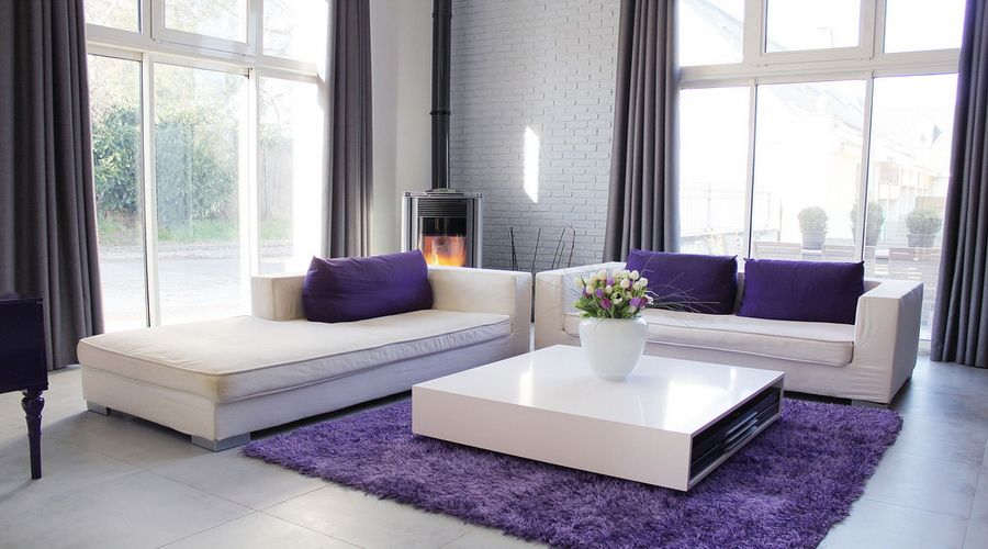 Modern And Simple Purple Living Room With White Furniture Carpet Flooring
