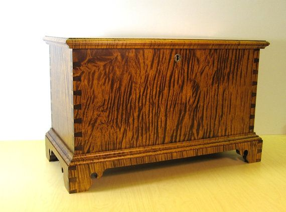 Tiger Maple Childs Size Miniature Blanket Chest by Dellabrook