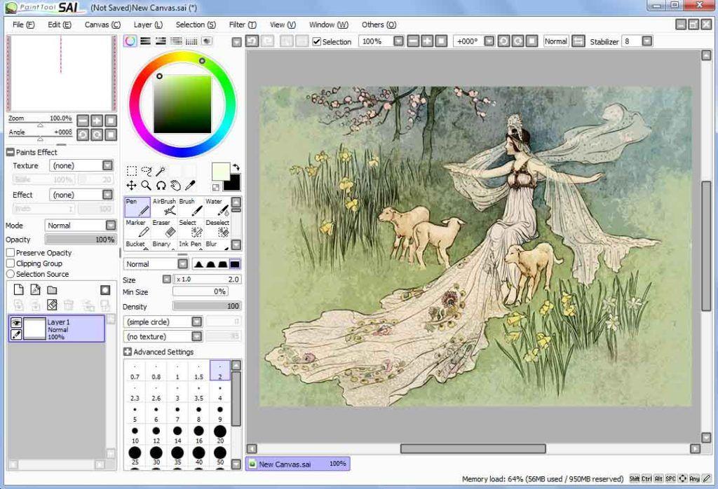 Interfaz De Paint Tool Sai Paint Effects Texture Painting