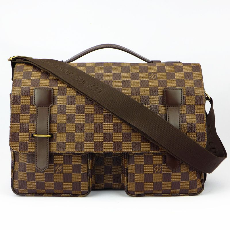 6757b55c6d7b  LV Broadway Messenger Bag Damier Ebene Canvas With Leather Good Conditions  ref.code-(KCSY-34)