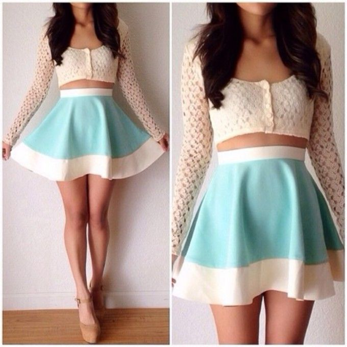 vxys4t-l-c680x680-skirt-sweater-shirt-see-through-cut-out-lace-pretty-crop-tops-button-up-aqua-floral-blouse-lace-white-sheer-flowy-shirt-short-top-teal-and-white-skater-skirt-blue-skirt-summer-outf.jpg (680×680)