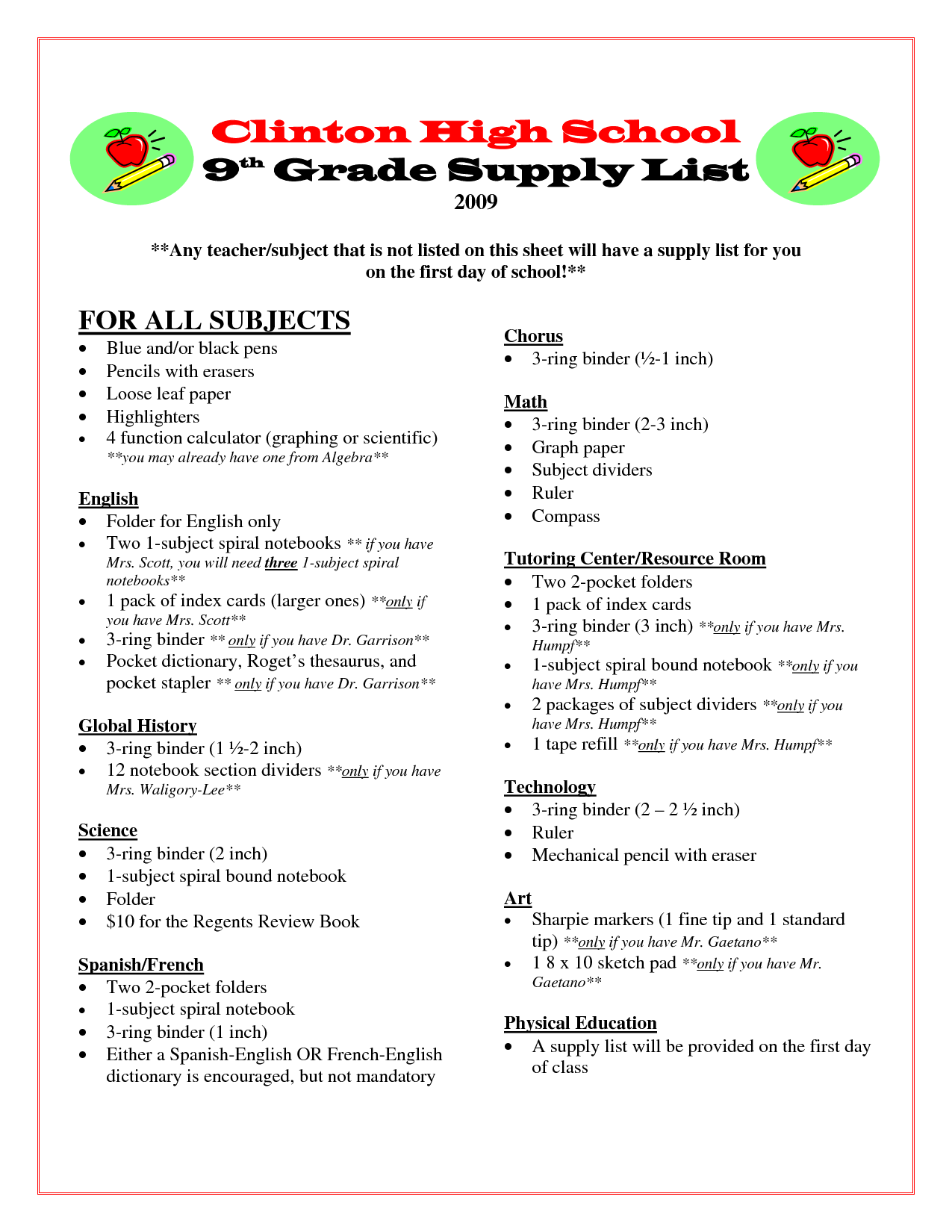 School Supplies List 9th Grade