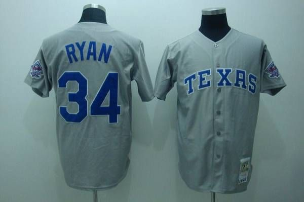 hot sale online 79e4e e6f1c Mitchell and Ness Rangers #34 Nolan Ryan Embroidered Grey ...
