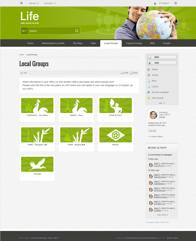 Splio ThoughtFarmer Intranet Groups