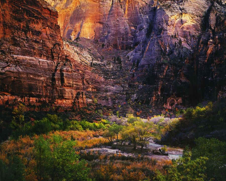 Twilight Virgin River & Zion Canyon, Utah 1987   by Christopher Burkett