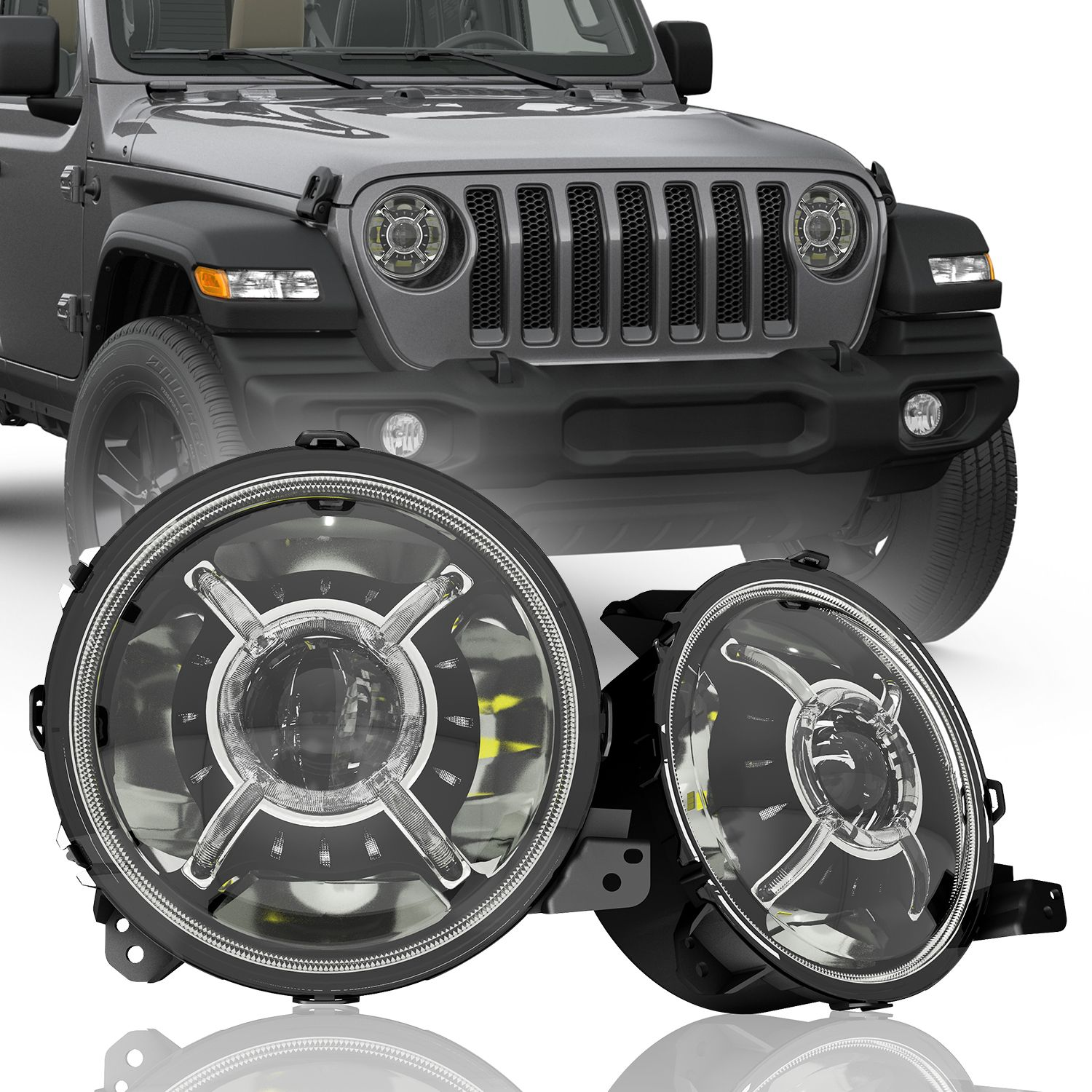 True 9 Inch Led Headlights For Jeep Wrangler Jl Jt Gladiator