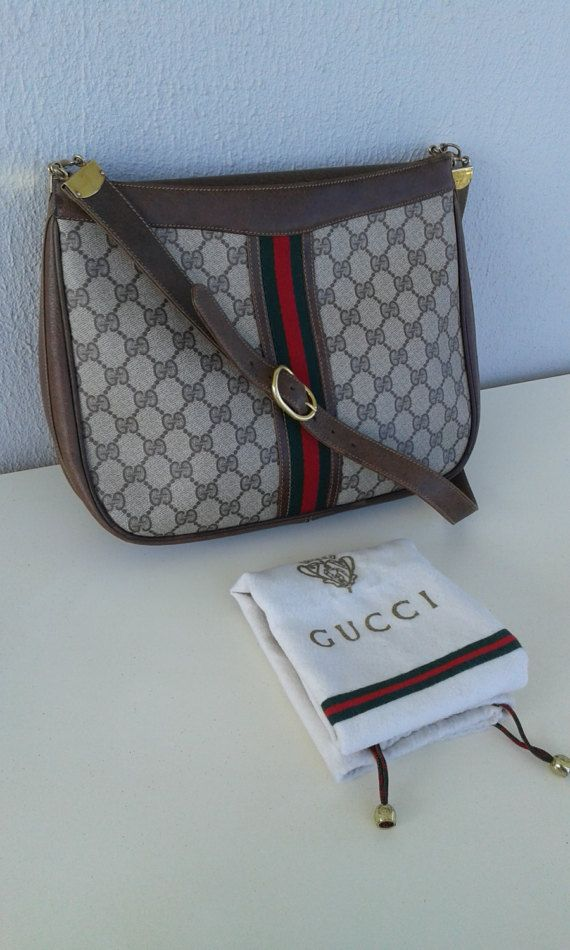 cdf9d9cece5f41 Gucci vintage brown GG monogram hobo / shoulder bag / by ALILALIA ...
