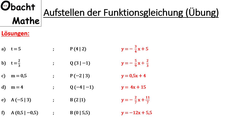 Steigung berechnen - 2 Punkte - Übungen - Lösungen - Geraden ...