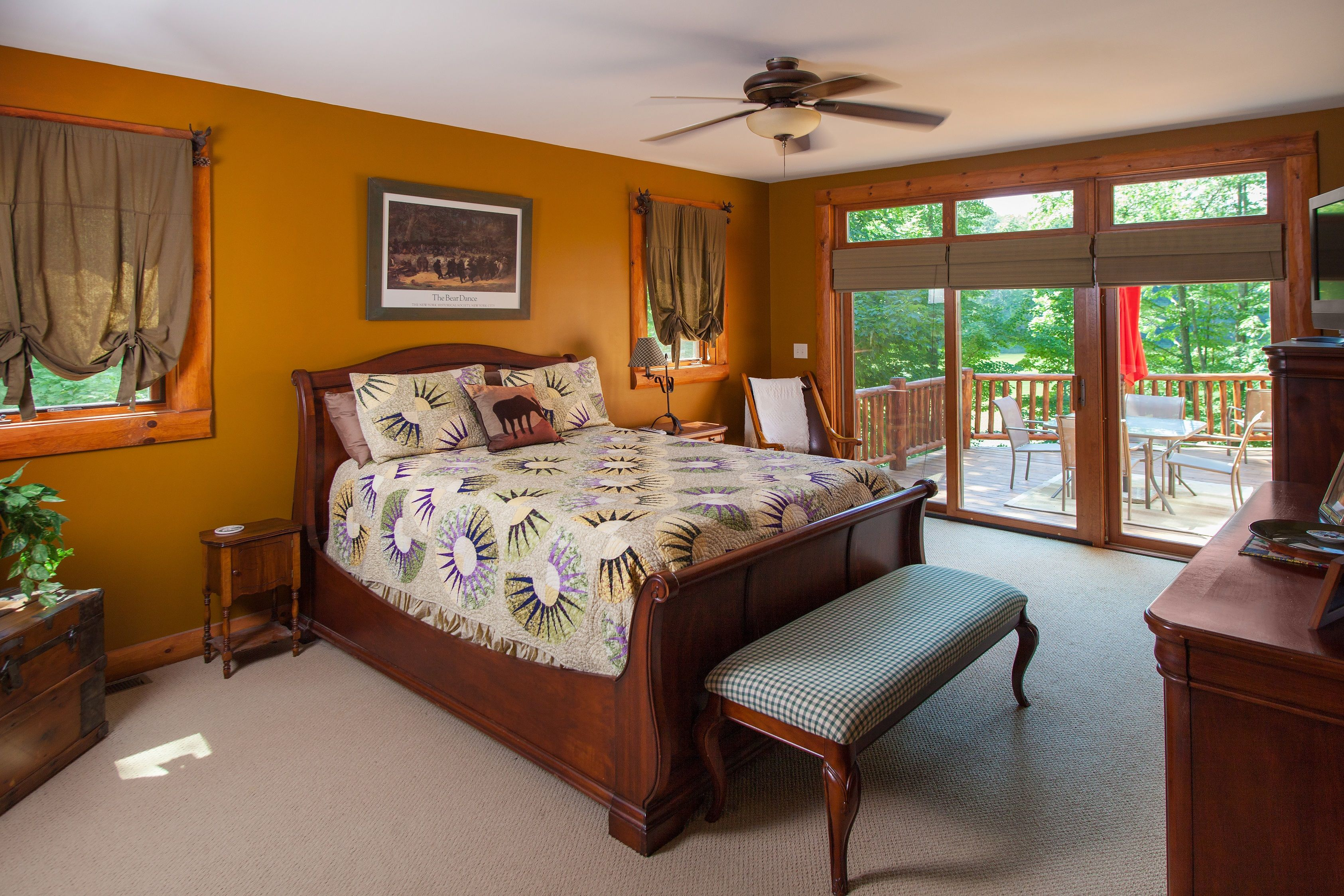 Master Bedroom has a 9' ceiling and a patio door with