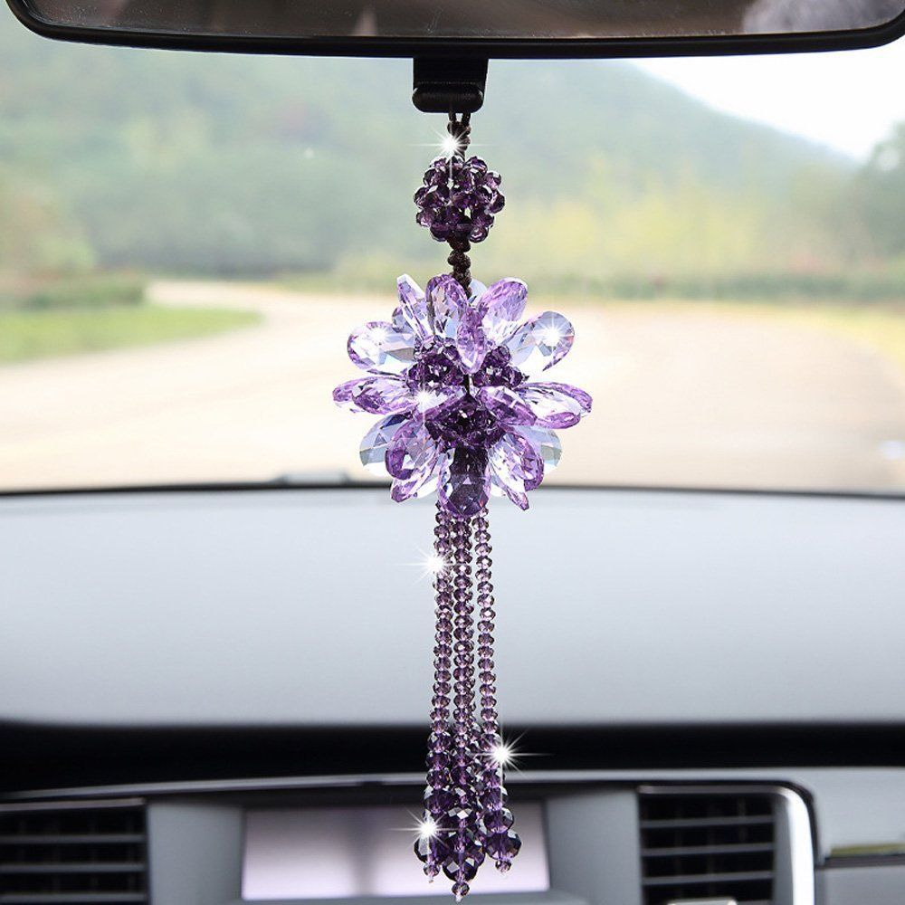 hanging white colorful chimes mirror car tassel ornament decoration charm in accessories decor view with item pendant wind flower rear rearview