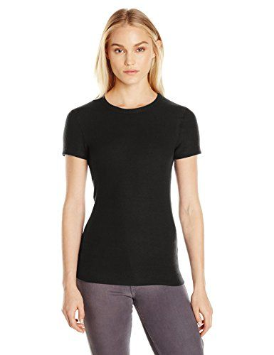 Three Dots Women's S/s Crewneck Brushed Sweater, Black, S. Brushed sweater knit tee. Short sleeve crew neck.