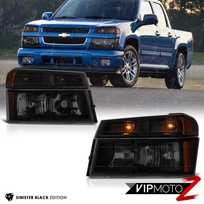 Sinister Black 2004 2017 Chevy Colorado Per Signal Headlight Lamp 4pc Combo Vipmotoz