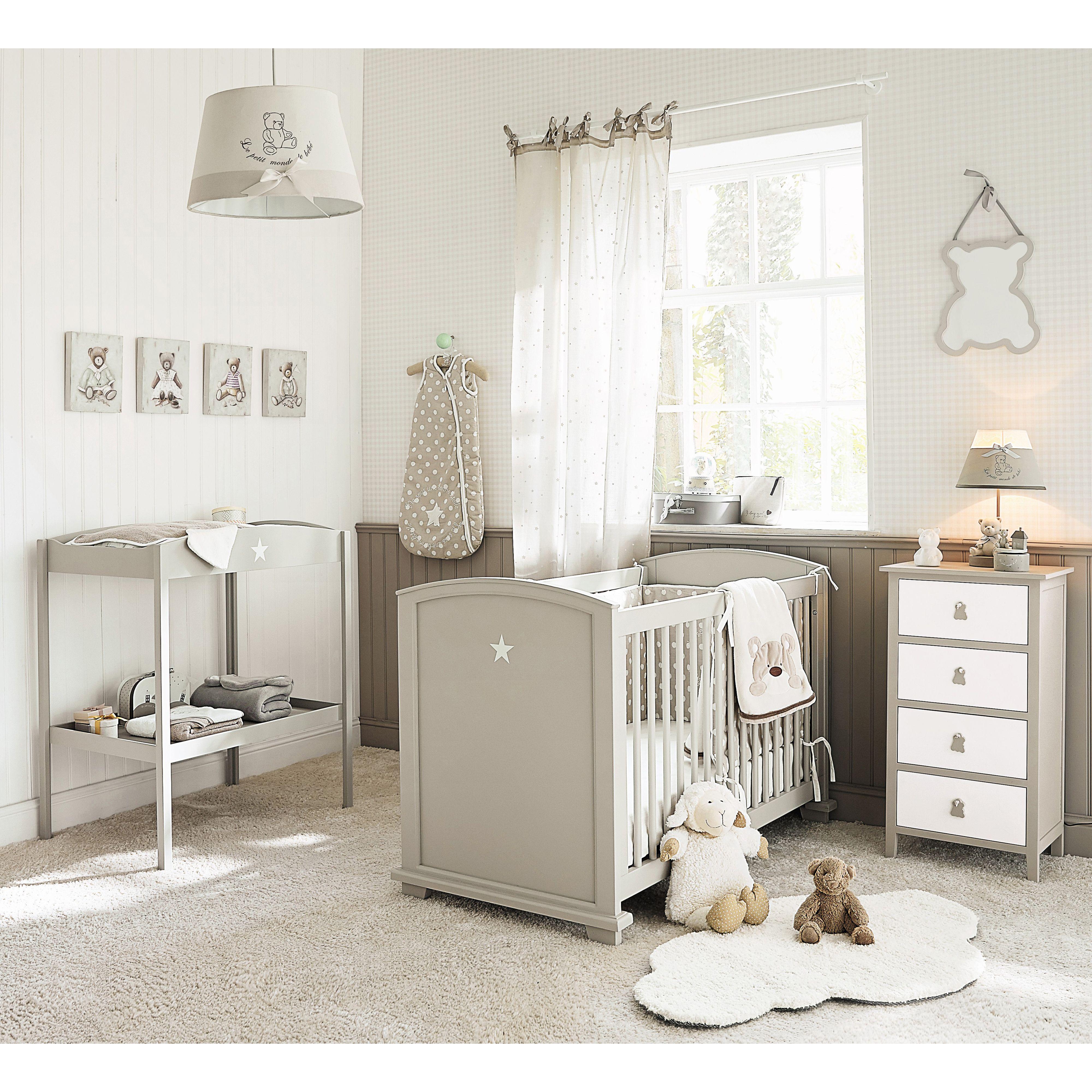 Lit bébé à barreaux en bois taupe L 131 cm Pastel | Maisons du Monde ...