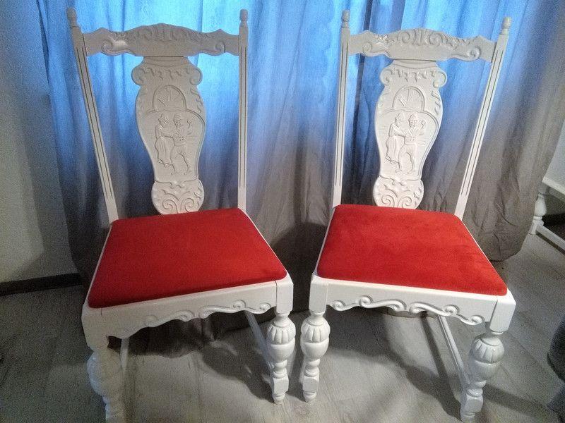 Stühle Stuhl Weiß Shabby Holz Landhaus Schnitzereien