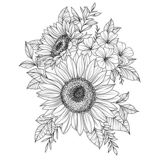 Photo of Gerber daisy drawing  artist wysartt @instagram #flowertattoos