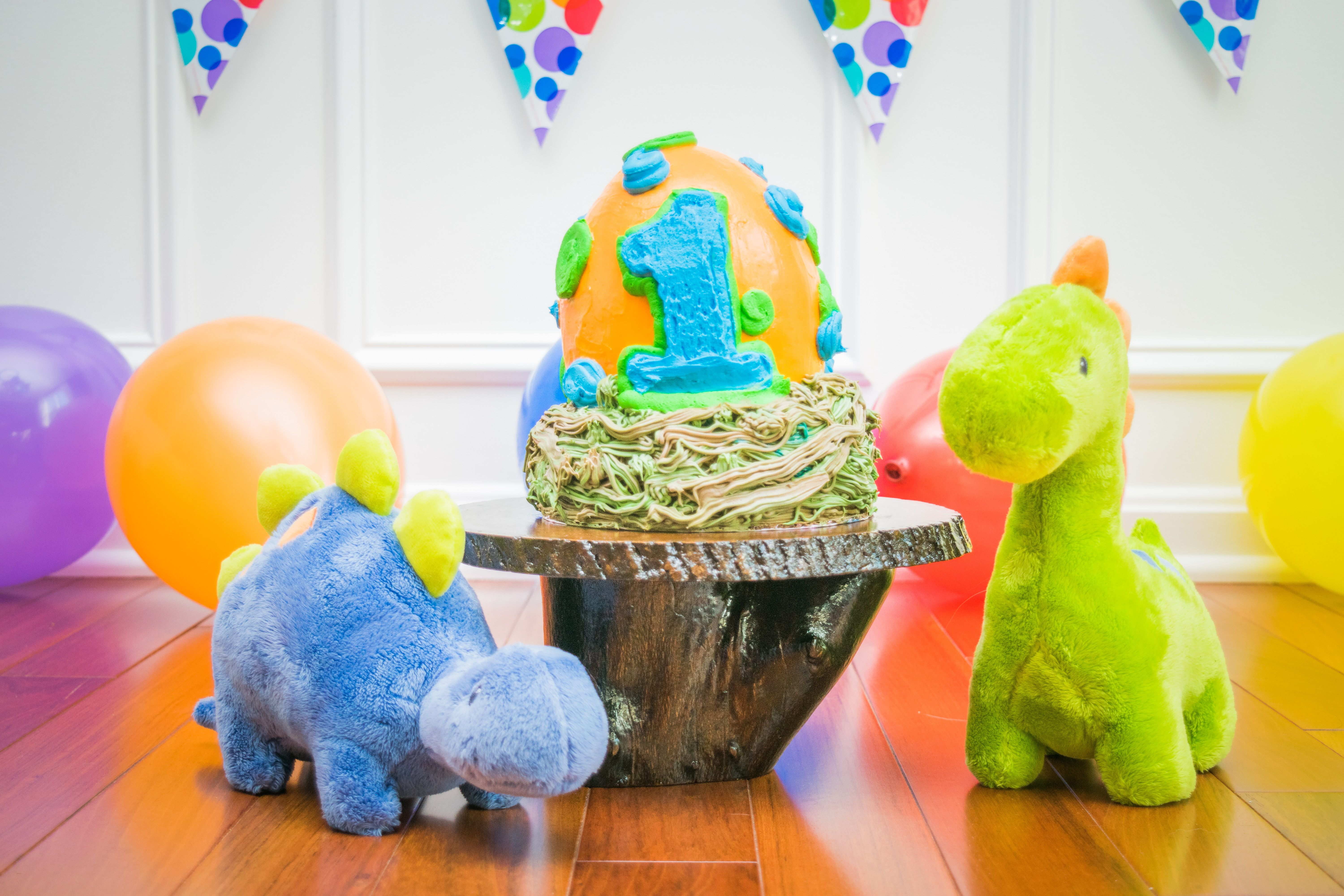 A Dinosaur Egg Smash Cake For One Year Old Little Boy