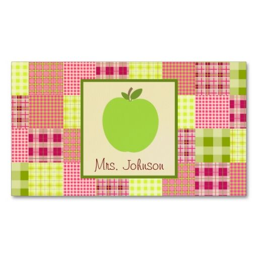 Green apple and madras inspired plaid teacher business cards make green apple and madras inspired plaid teacher business cards make your own business card with reheart Gallery