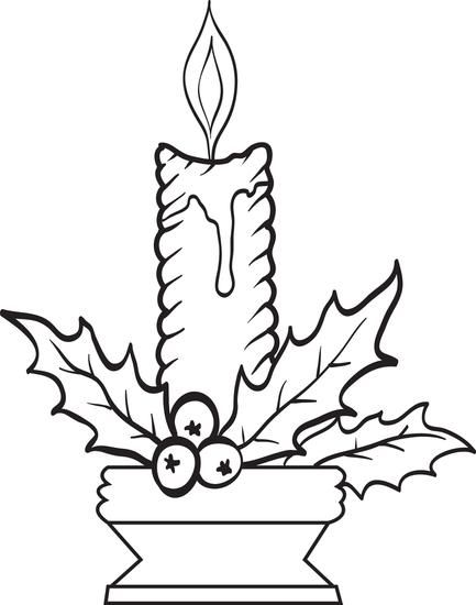 free printable christmas candles coloring page for kids holiday
