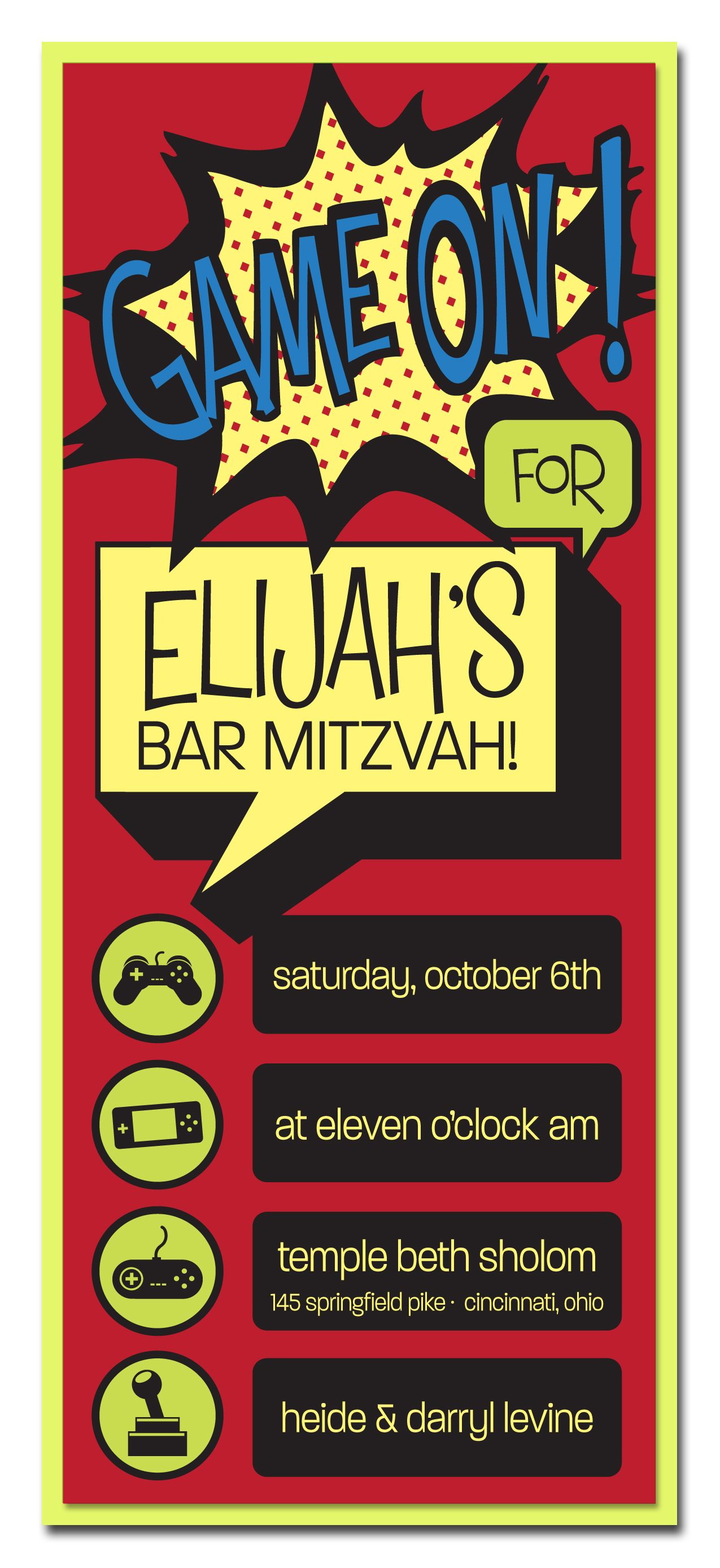 Elijah: 2 layered invitation lime neon with digital printing, unique ...