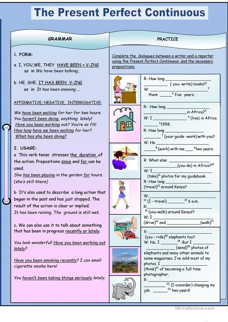 The Present Perfect Continuous Worksheet Free Esl Printable Worksheets Made By Teachers Present Perfect Simple Past Tense Grammar Practice
