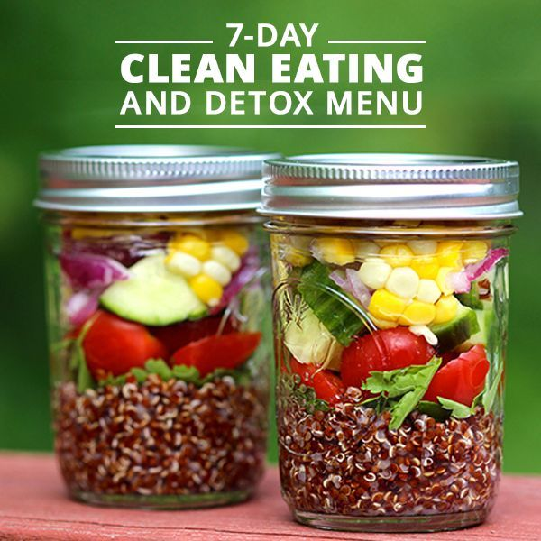 7-Day Clean Eating and Detox Menu - This week's meal plan just got easier! No need to drink only juice when you can eat recipes made with whole foods and clean ingredients. Get started on a new healthier lifestyle. #detox #cleaneating #mealplans