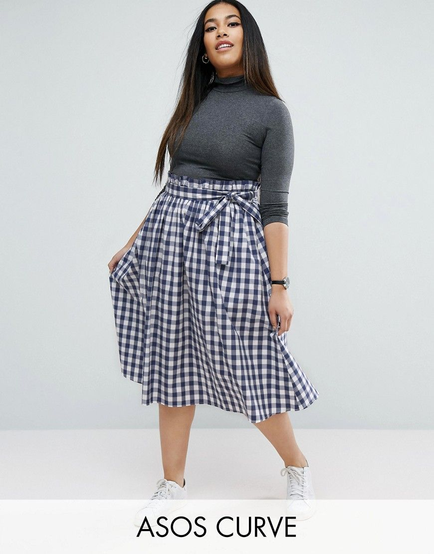 3bf77a1173 ASOS CURVE Midi Skirt with Paperbag Waist in Gingham - Plus Sizes ...