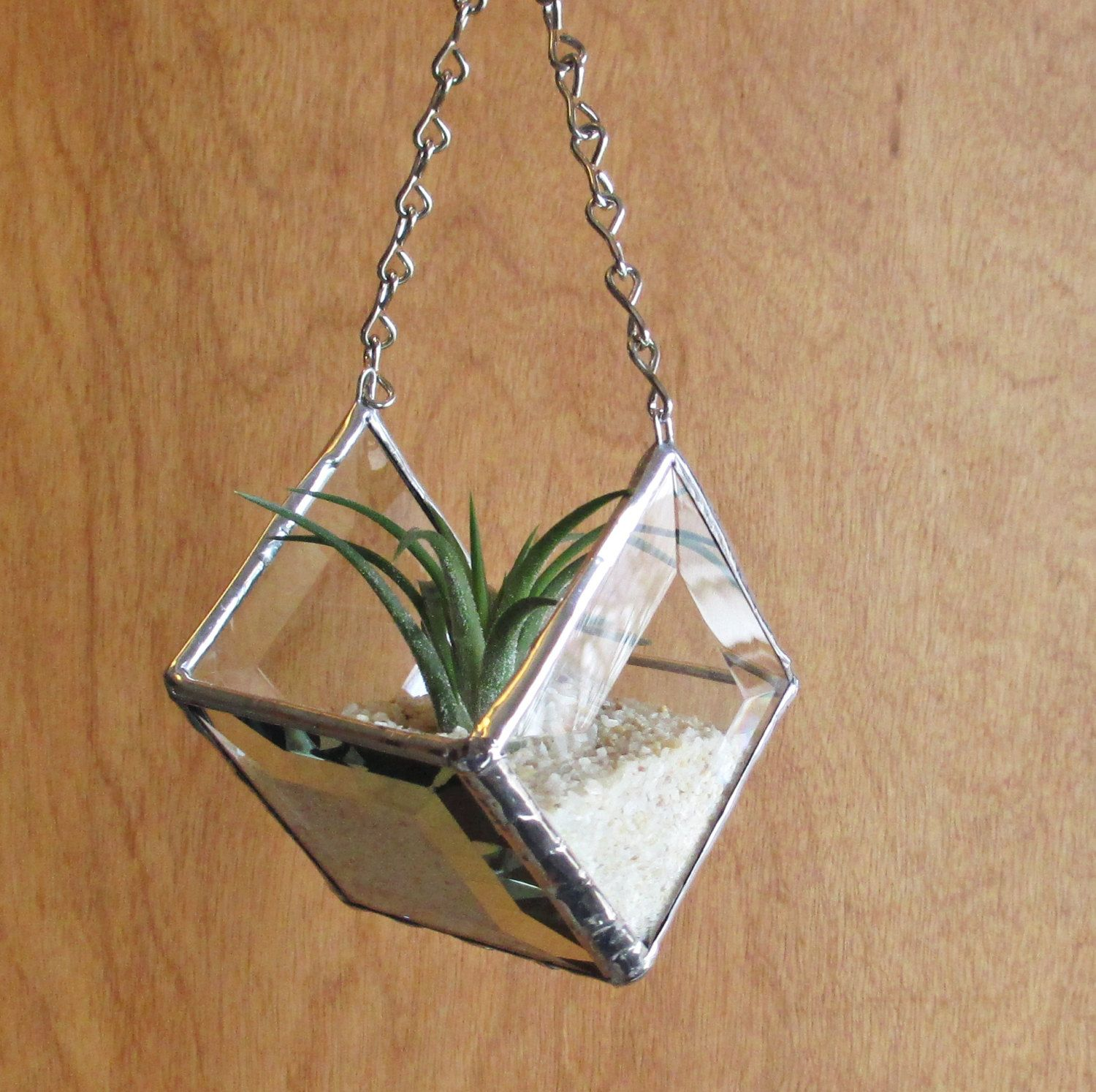 Stained Glass Beveled Diamond Shaped Hanging Planter for ...