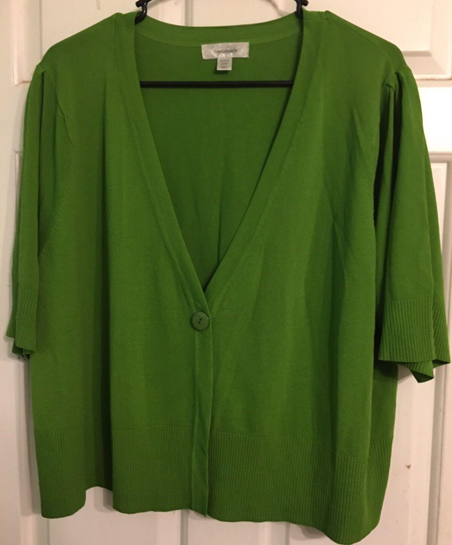 Dressbarn Womens Plus Size 22W Green Short Sleeve Cardigan Sweater ...