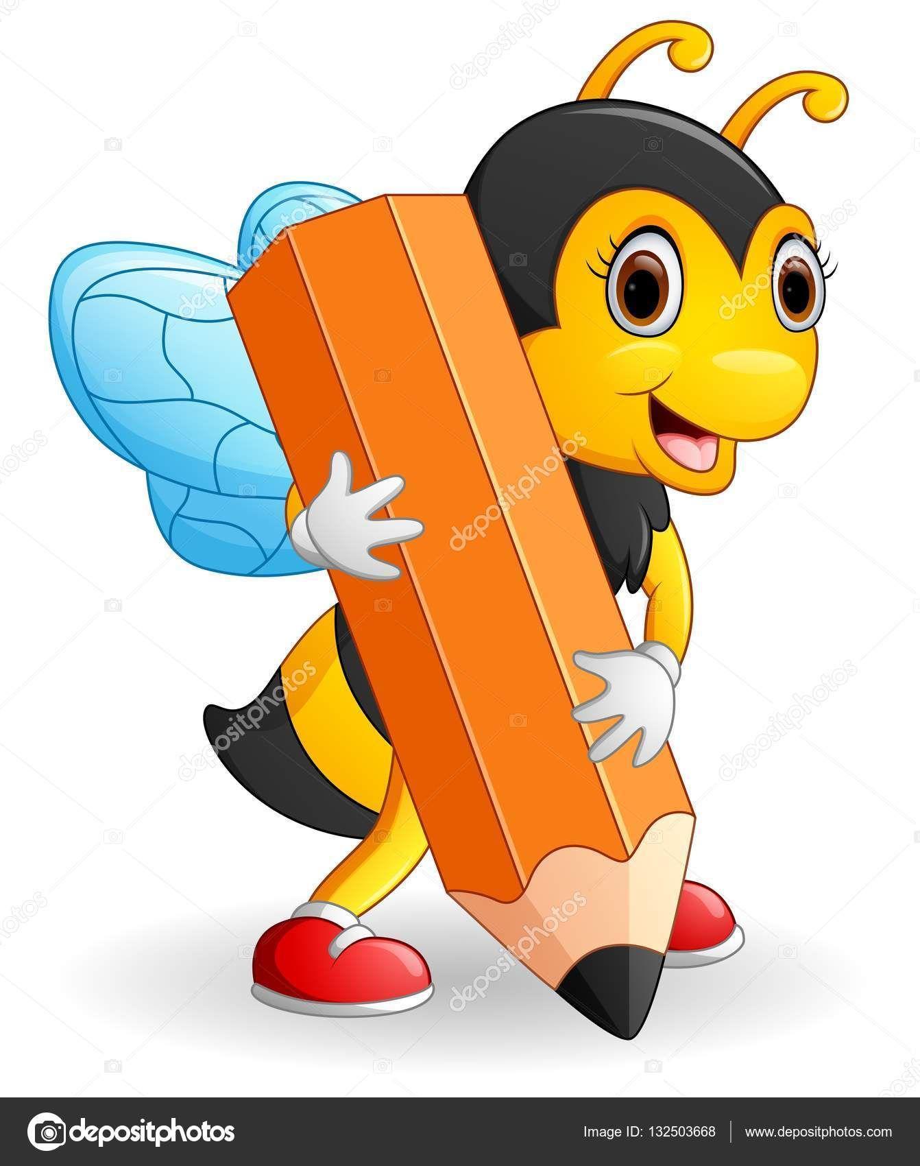 Descargar - Lápiz de abeja de dibujos animados holding marrón ...