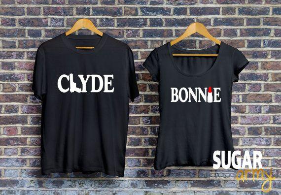 bfa828bd3b Bonnie Clyde t-shirt, bonnie clyde jerseys, matching couple shirts, set of  matching shirts for coupl
