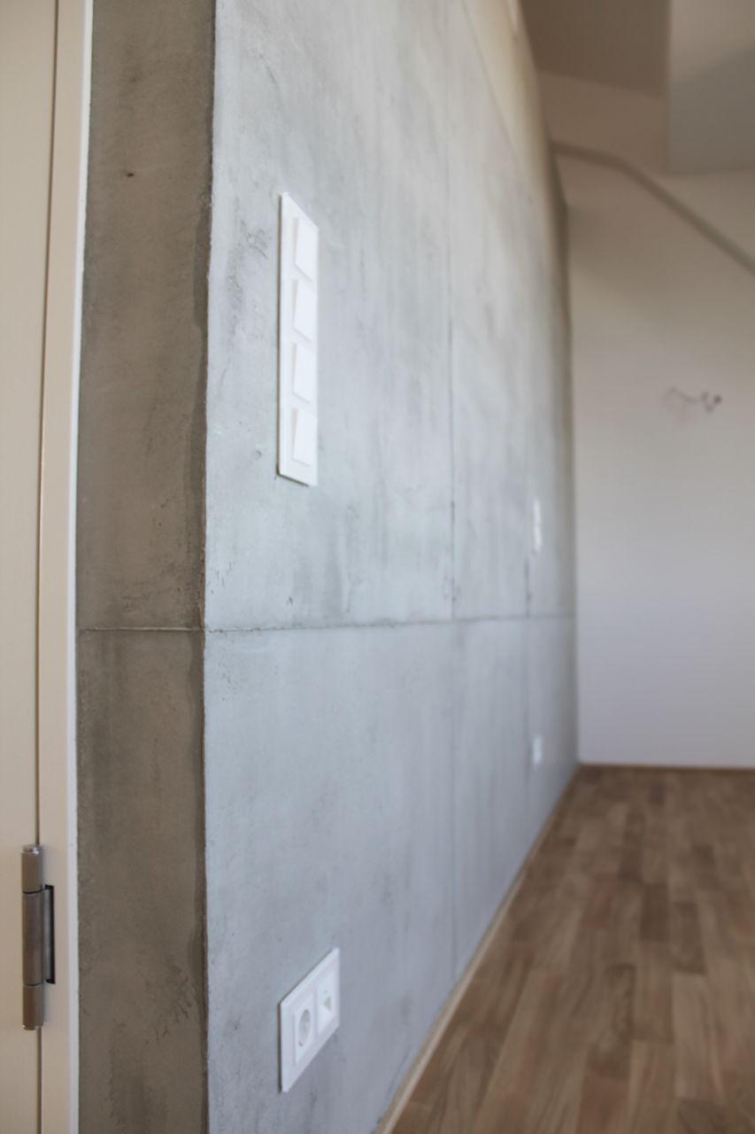 Wandgestaltung in Sichtbetonoptik mit Schalungsnähten, Concrete Design