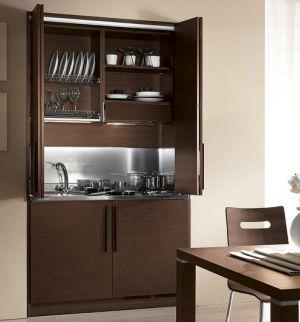 Cucina armadio monoblocco rovere moro | Mini appartamento ...