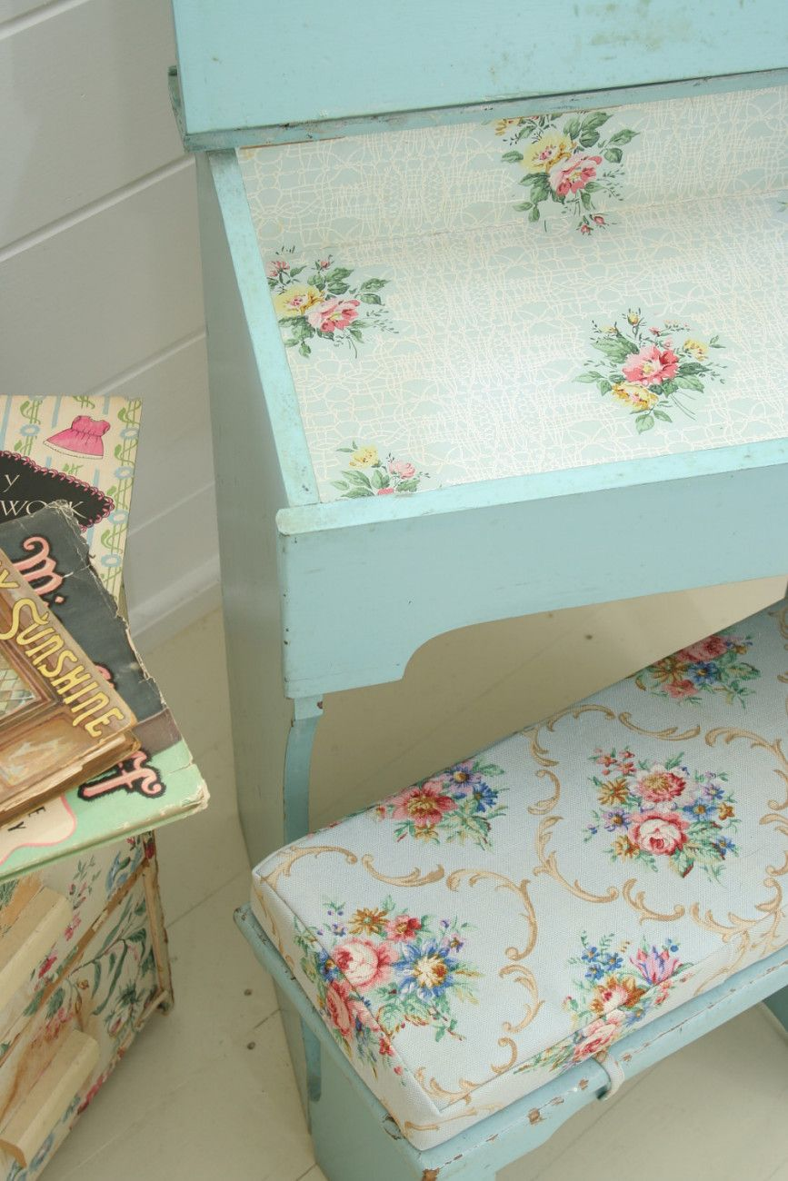 Vintage Home 1950s Painted School Desk and Stool with